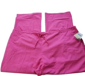 Pink 3-Pockets Pull-on Medical Scrub Pants 3XL